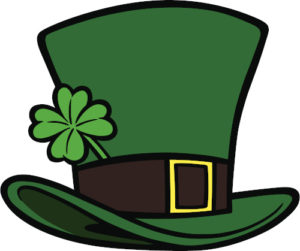 A leprechaun hat with a shamrock in the band